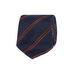 Hammond & Co. by Patrick Grant - Designer orange textured spots and stripes silk tie