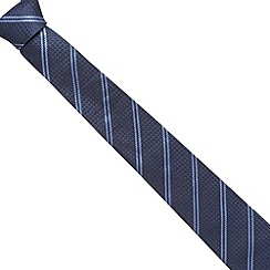 Hammond & Co. by Patrick Grant - Designer blue textured spots and stripes silk tie