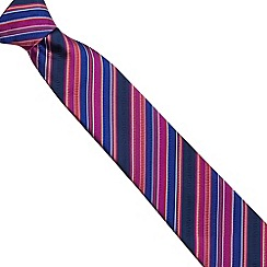 Thomas Nash - Pink woven silk striped tie
