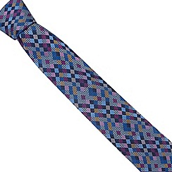 Thomas Nash - Blue mini square striped silk tie