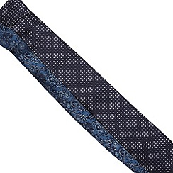 The Collection - Pack of two navy paisley pindot ties