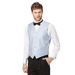 Black Tie - Light blue twill jacquard waistcoat