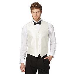 Ivory twill jacquard waistcoat