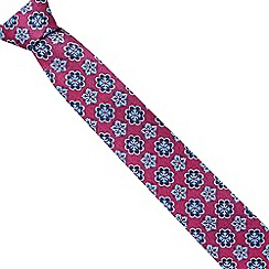 Jeff Banks Brit - Designer dark pink geometric floral slim tie