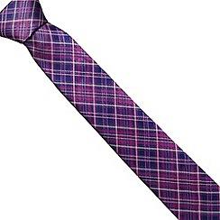 Jeff Banks Brit - Designer dark pink checked slim tie