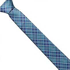 Jeff Banks Brit - Designer green checked slim tie