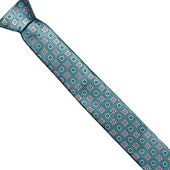 Jeff Banks Brit - Designer green abstract floral slim tie