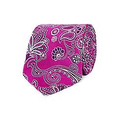 Jeff Banks - Designer pink paisley slim silk tie