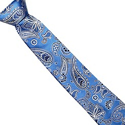 Jeff Banks - Designer blue paisley slim silk tie