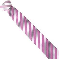 Jeff Banks - Designer pink twin striped slim silk tie