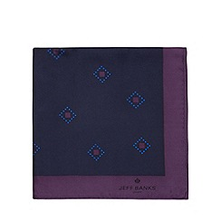 Jeff Banks - Designer purple geo diamond silk pocket square