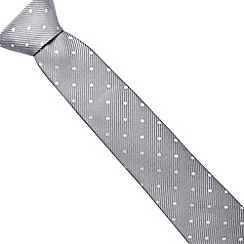 J by Jasper Conran - Designer light grey fine striped and spotted silk tie