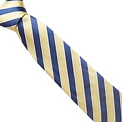 Osborne - Yellow wide stripe ribbed silk tie