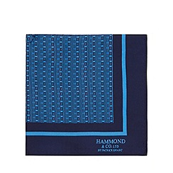 Hammond & Co. by Patrick Grant - Designer navy dashed lines silk pocket square