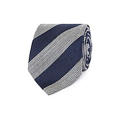 Hammond & Co. by Patrick Grant - Navy wool blend striped regular tie