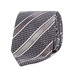 Thomas Nash - Silver textured striped tie