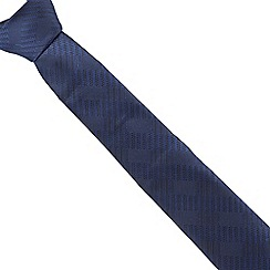The Collection - Navy tonal checked slim tie