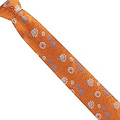 The Collection - Orange fancy floral silk tie