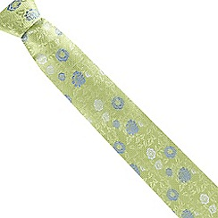 The Collection - Green fancy floral silk tie