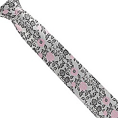 The Collection - Grey fancy floral silk tie