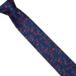 The Collection - Navy silk floral tie