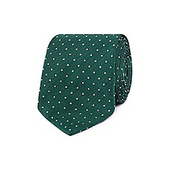 The Collection - Green silk dotted herringbone slim tie
