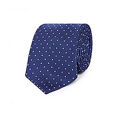 The Collection - Blue silk dotted herringbone slim tie