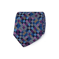 The Collection - Blue mini squares print silk tie