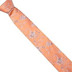 The Collection - Orange fine floral silk tie