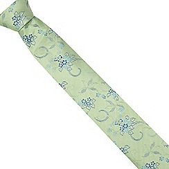 The Collection - Green fine floral silk tie