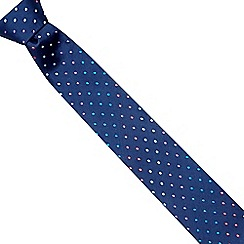 The Collection - Dark blue polka dot silk tie