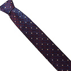 The Collection - Red silk floral diamond tie