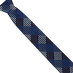The Collection - Blue slim herringbone check tie