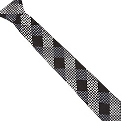 The Collection - Black slim herringbone check tie