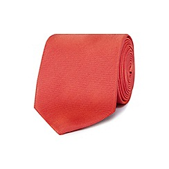 The Collection - Bright red ribbed slim silk tie
