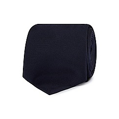 The Collection - Navy ribbed slim silk tie