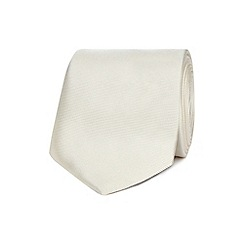 The Collection - Ivory ribbed slim silk tie