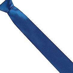 The Collection - Bright blue ribbed slim silk tie