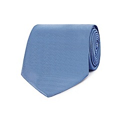 The Collection - Mid blue woven silk textured tie
