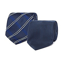 The Collection - Pack of two navy textured square and checked ties
