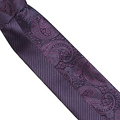 Thomas Nash - Pack of two dark purple striped and paisley ties