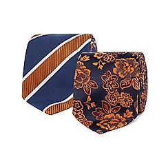 The Collection - Pack of two orange striped and floral slim ties
