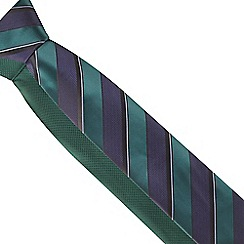The Collection - Pack of two dark green textured stripe ties