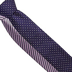 The Collection - Pack of two navy striped and spotted ties