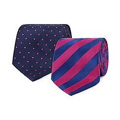 The Collection - Pack of two pink spotted striped ties