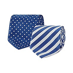 The Collection - Pack of two blue spotted and striped ties