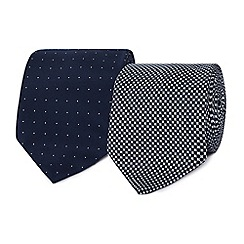 The Collection - Pack of two navy spotted ties