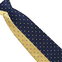 The Collection - Pack of two navy and yellow printed ties