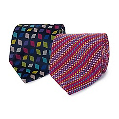 The Collection - Pack of two pink and navy geometric ties