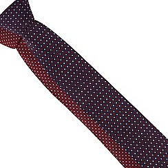 The Collection - Pack of two red and navy geometric print ties